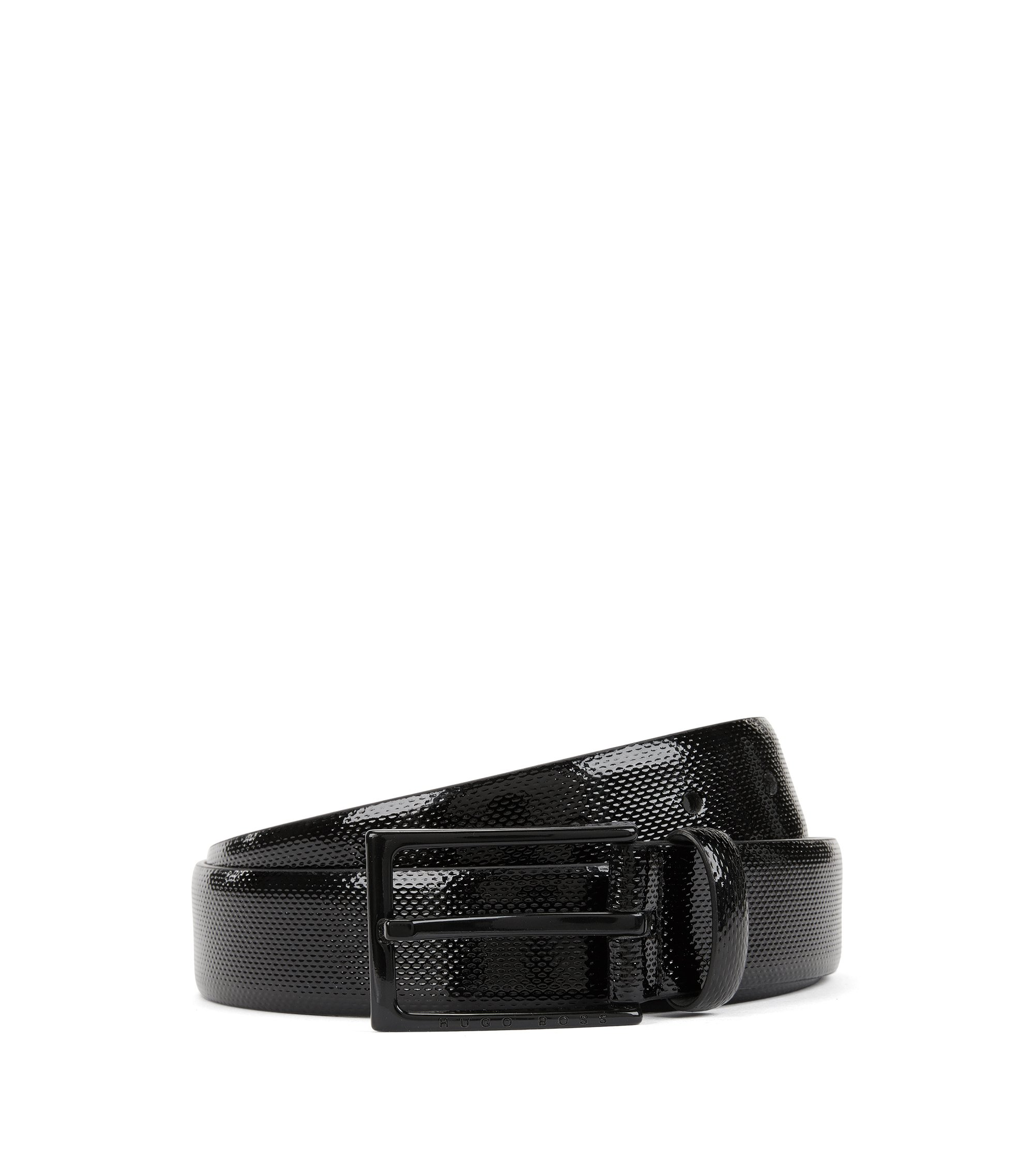 Patent embossed leather belt with black varnished pin-buckle, Black