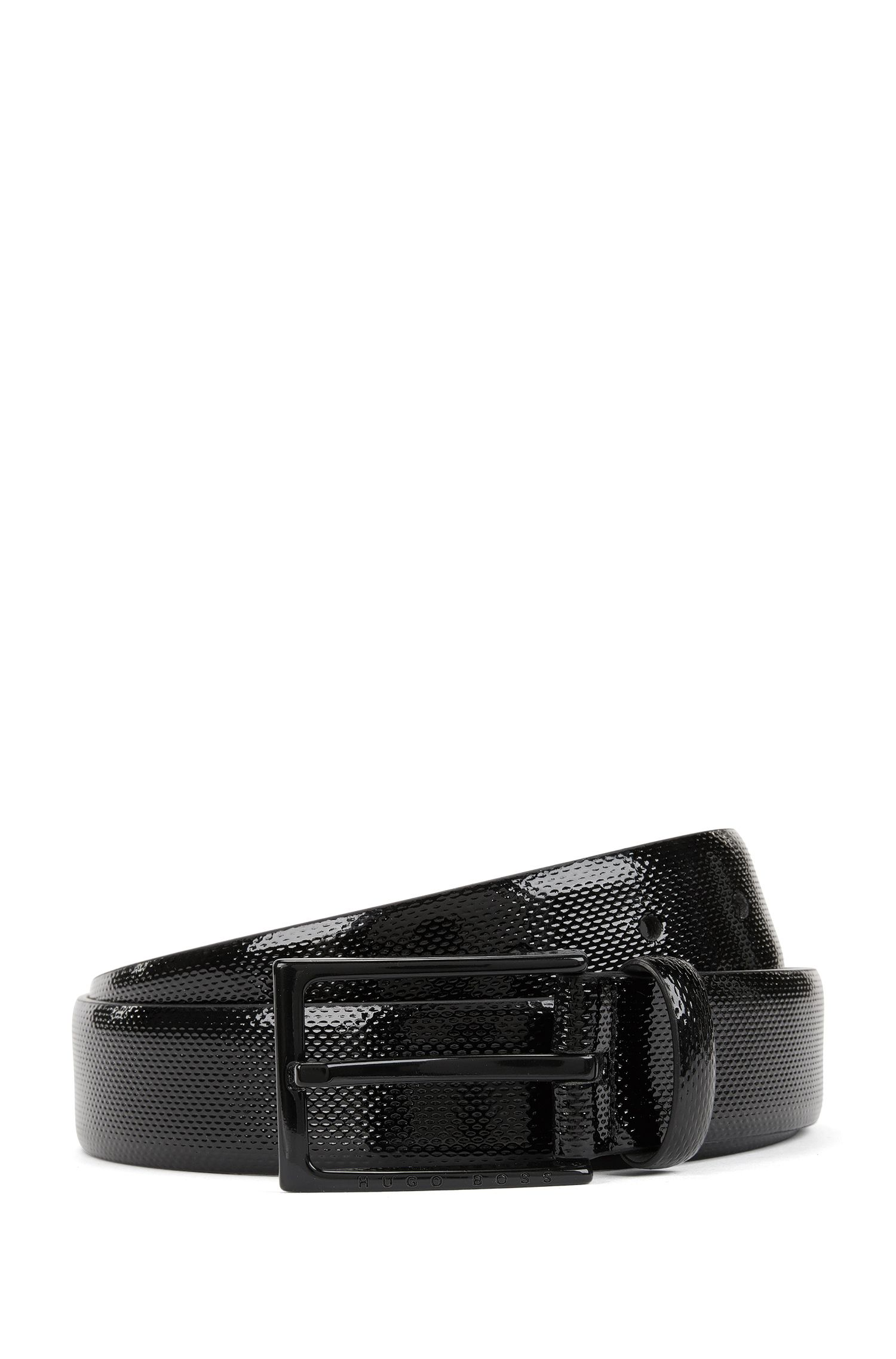 Patent embossed leather belt with black varnished pin-buckle