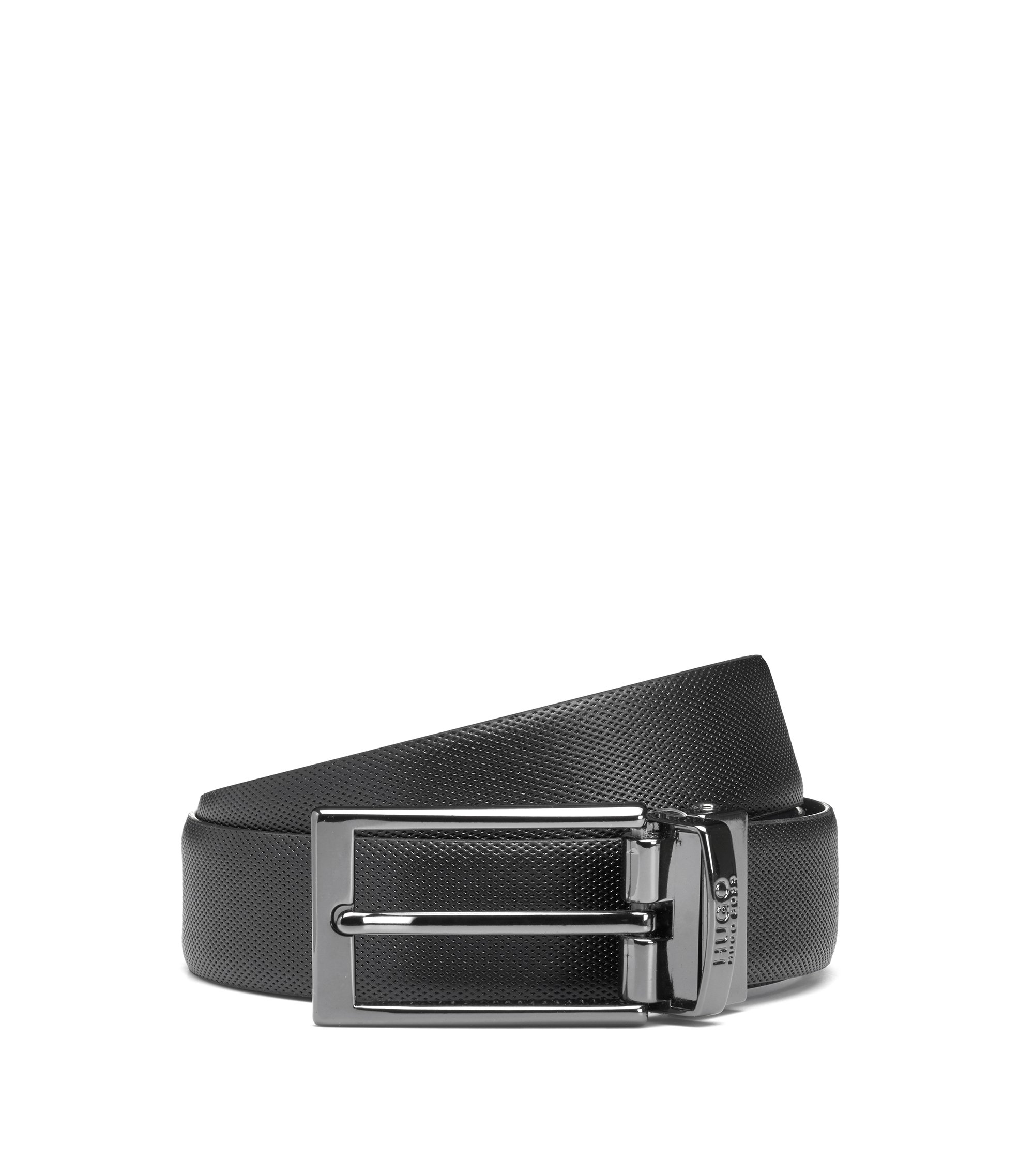 Reversible leather belt with a slimline buckle, Noir