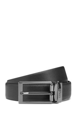Reversible leather belt with a slimline buckle, Noir