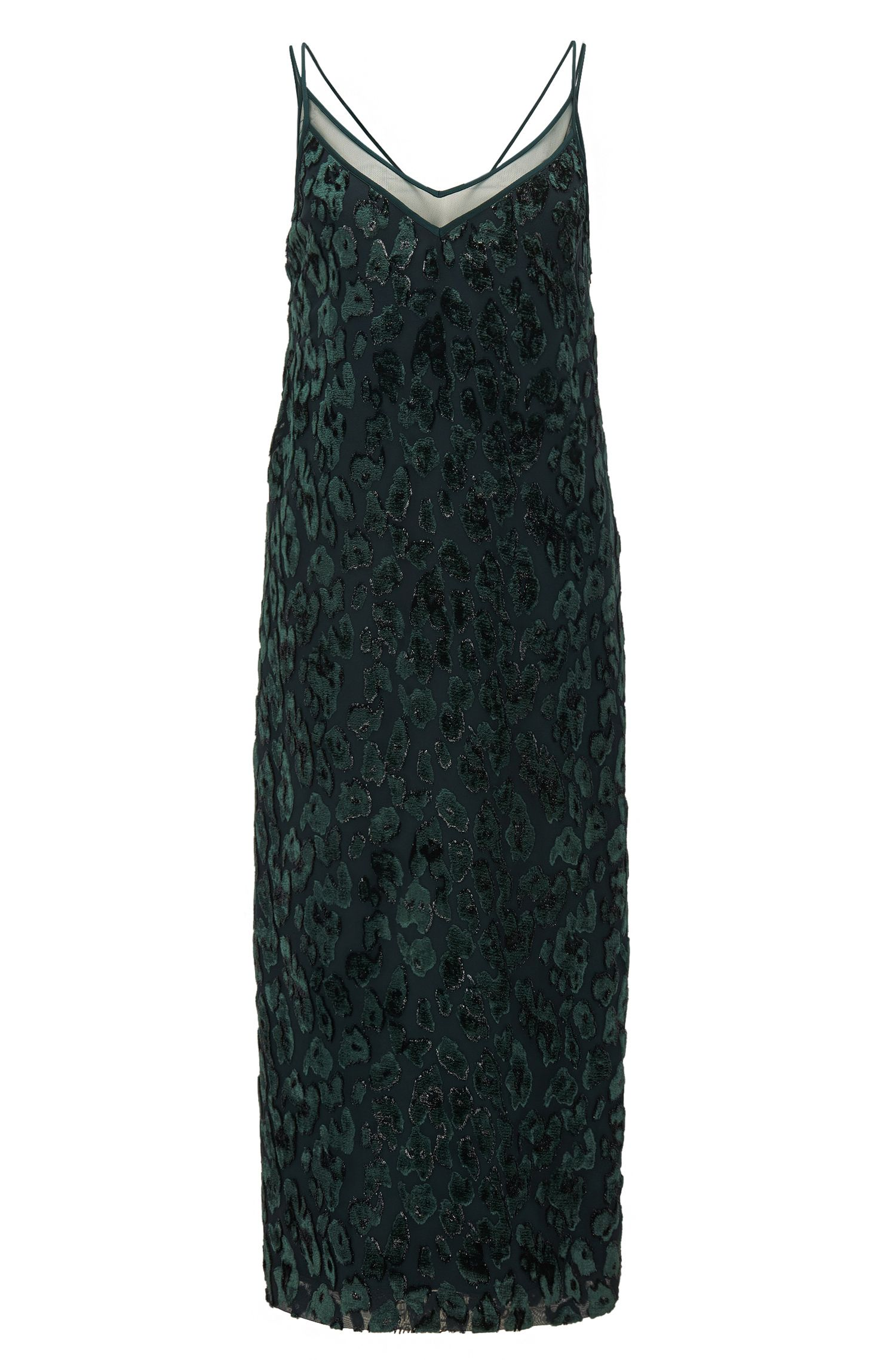 Vestito da cocktail a disegni con scollatura a V trasparente