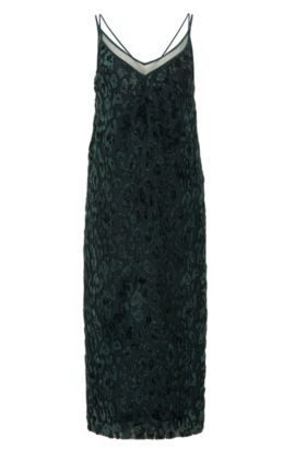 Patterned cocktail dress with sheer V neckline, Dark Green