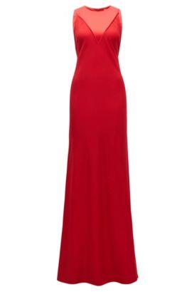 Abendkleid aus weich fließendem Material-Mix, Rot