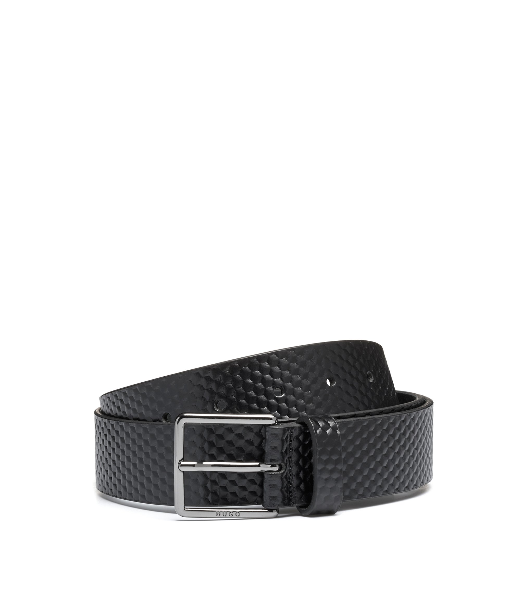 Leather belt with 3D embossing, Black