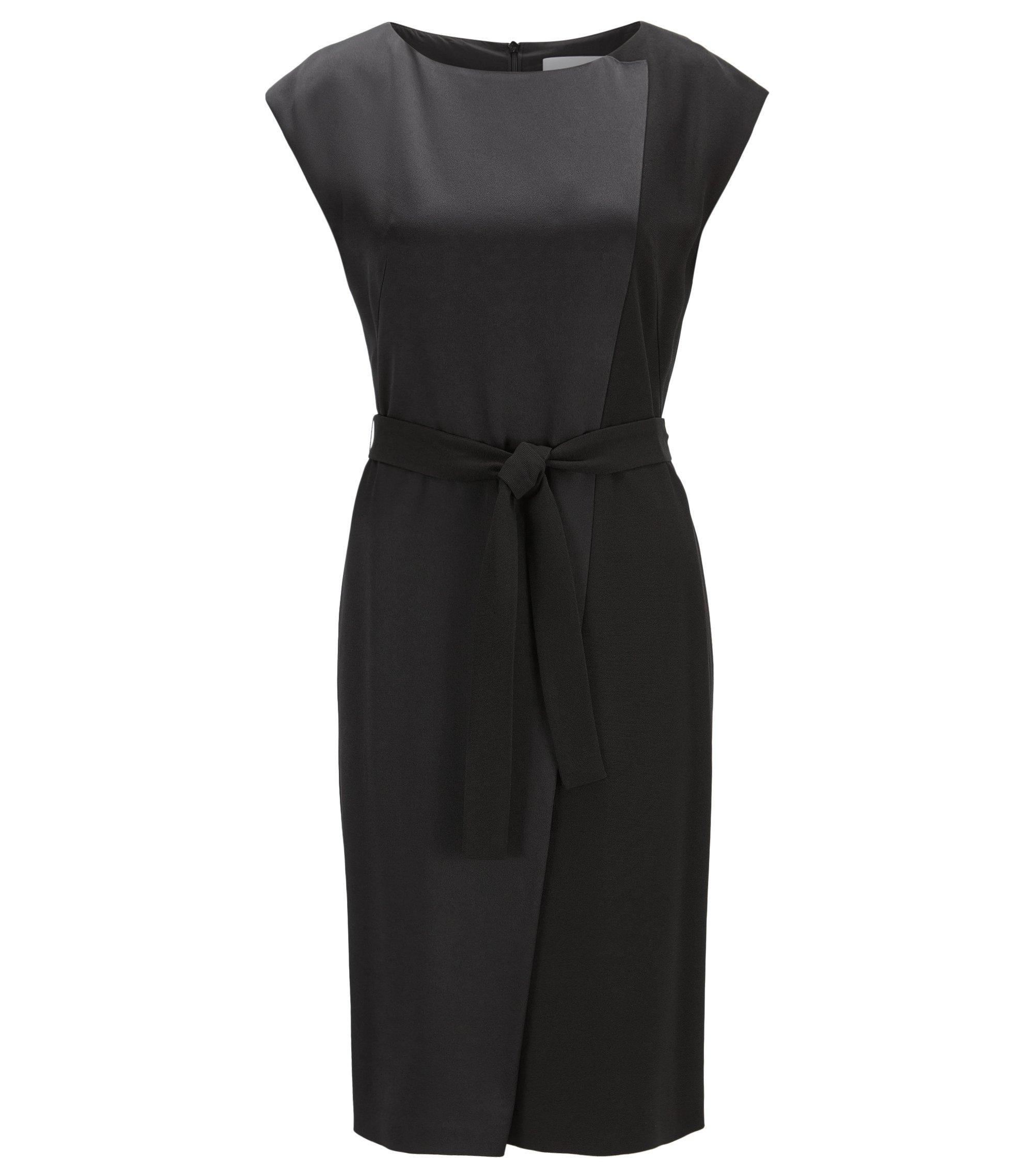 Asymmetrical sleeveless dress in contrast fabrics, Black