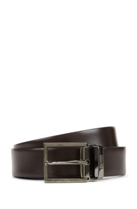 Reversible travel belt in smooth leather, Black