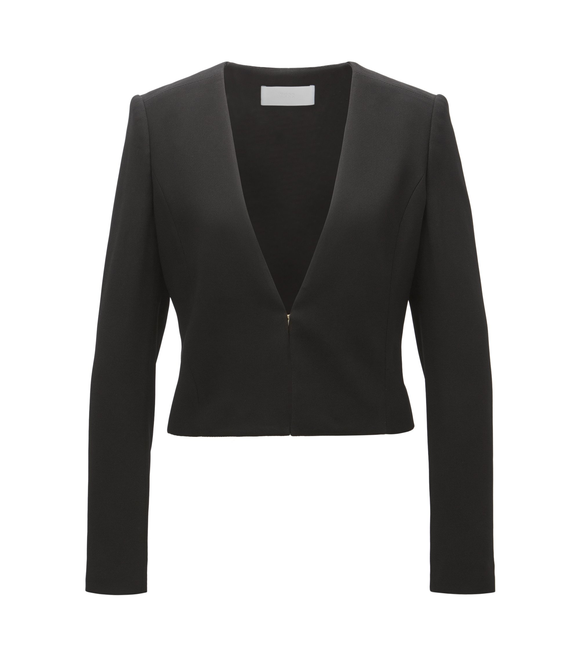 Blazer corto regular fit con chiusura con gancetto, Nero