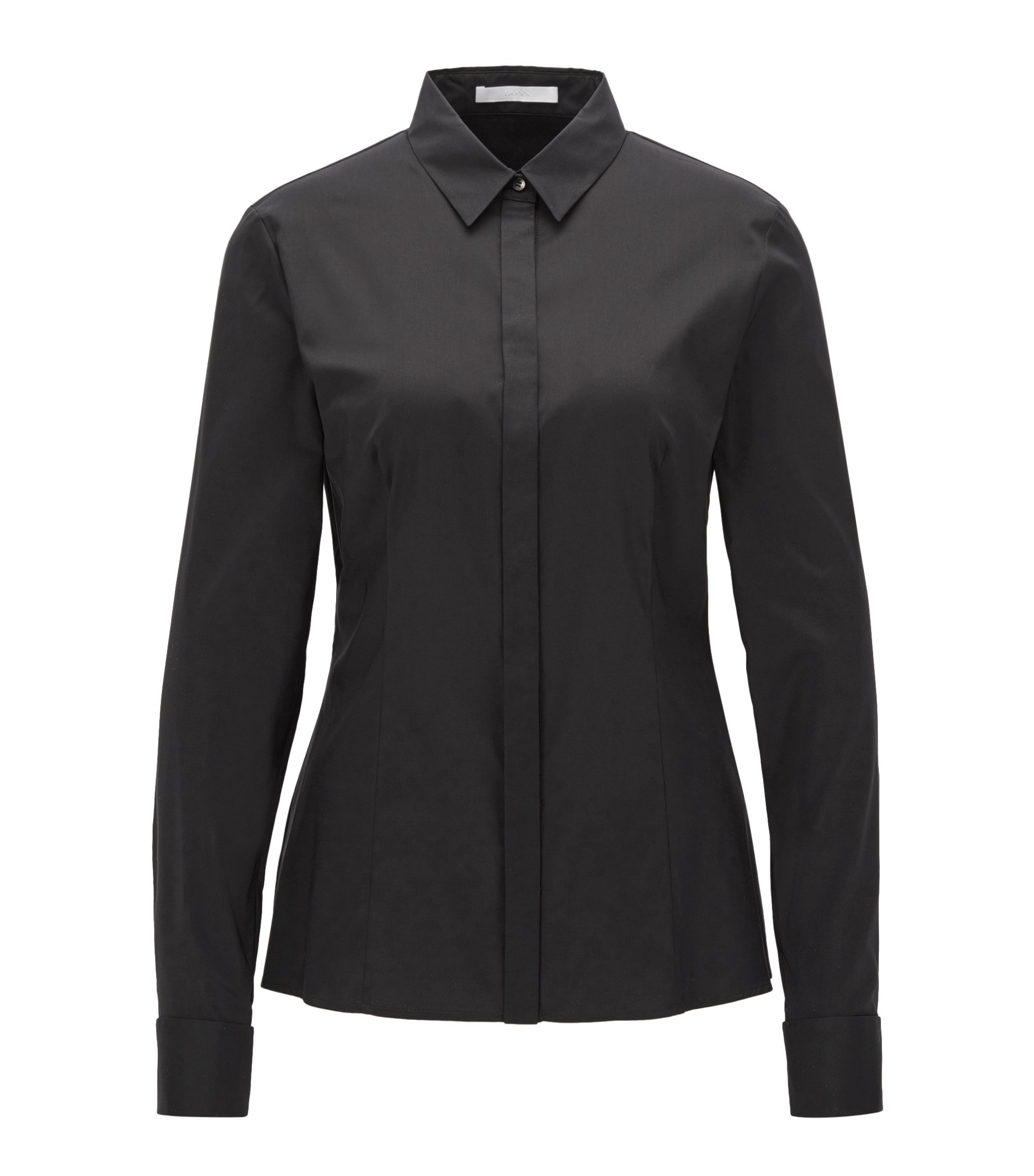 Cotton-blend shirt in a regular fit, Black