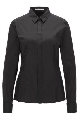 Regular-Fit Bluse aus Baumwoll-Mix, Schwarz
