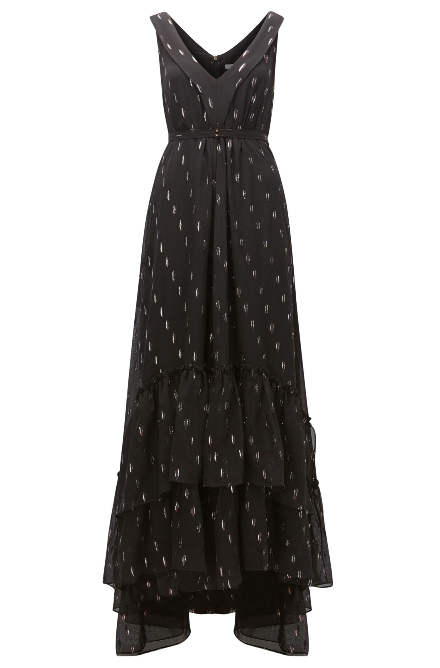 Patterned chiffon maxi dress with a layered hem