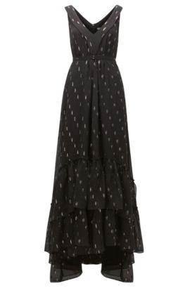 Maxi-jurk van chiffon met gelaagde zoom en dessin, Bedrukt