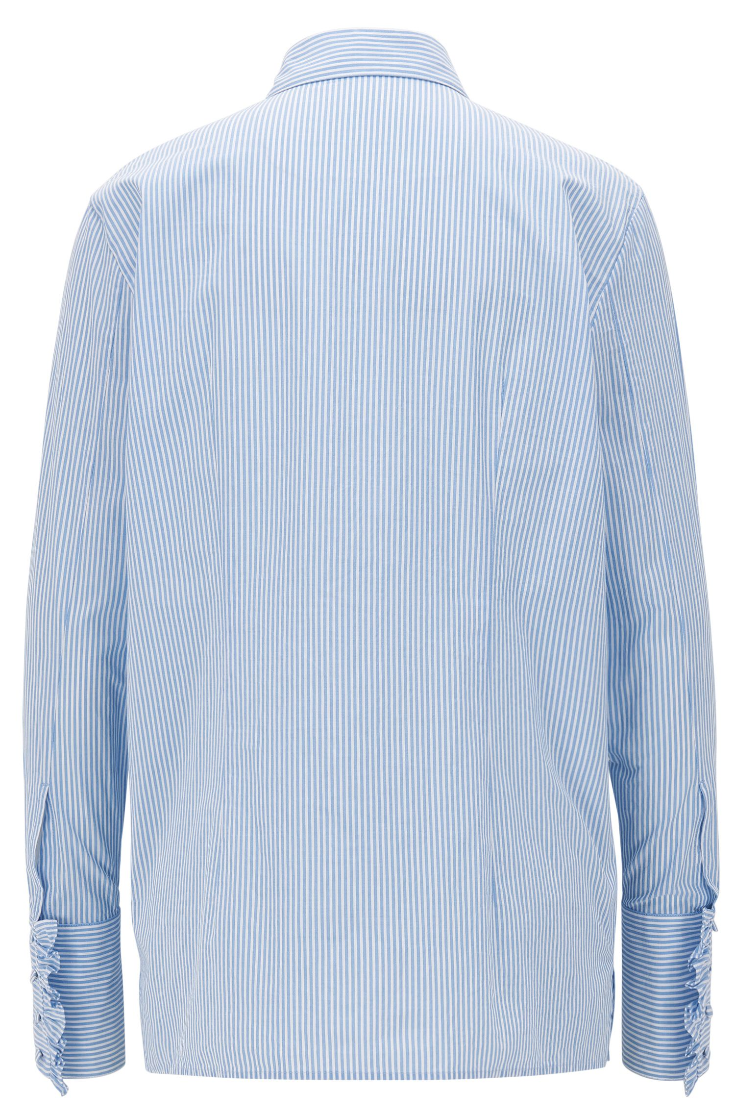 Relaxed-fit cotton shirt with ruffle placket