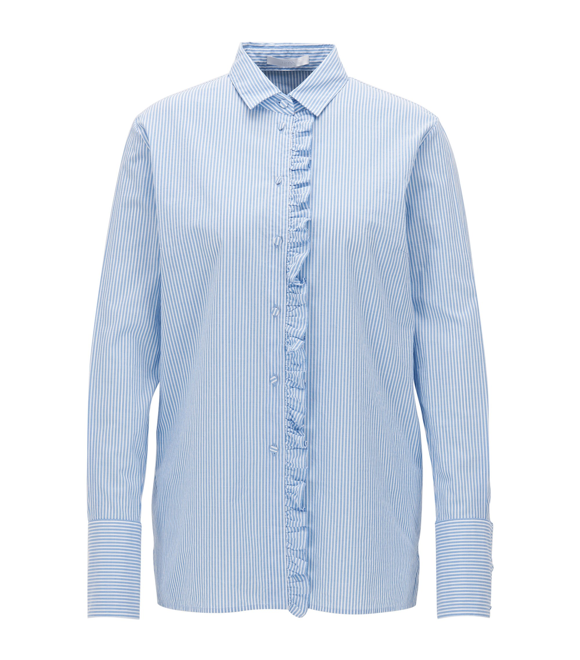 Relaxed-fit cotton shirt with ruffle placket, Patterned