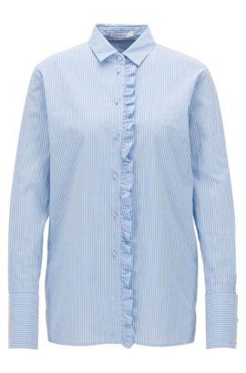 Relaxed-Fit Bluse aus Baumwolle mit Rüschen-Besatz, Gemustert