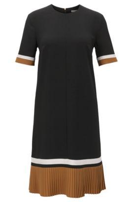 Kleid aus leichtem Krepp mit Plissée-Saum und Colour-Block-Details, Schwarz