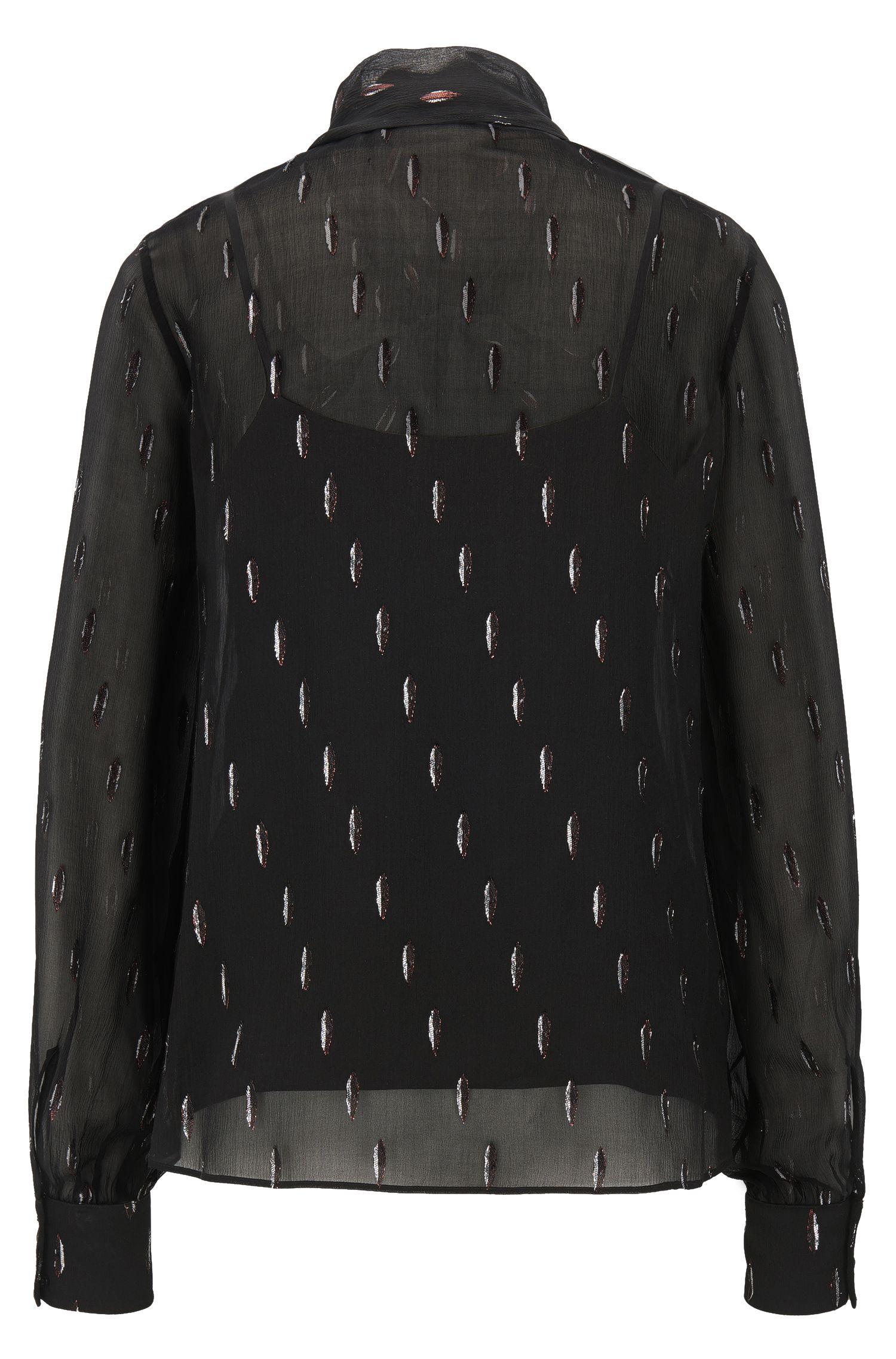 Regular-Fit Bluse aus Seiden-Mix mit Schleife