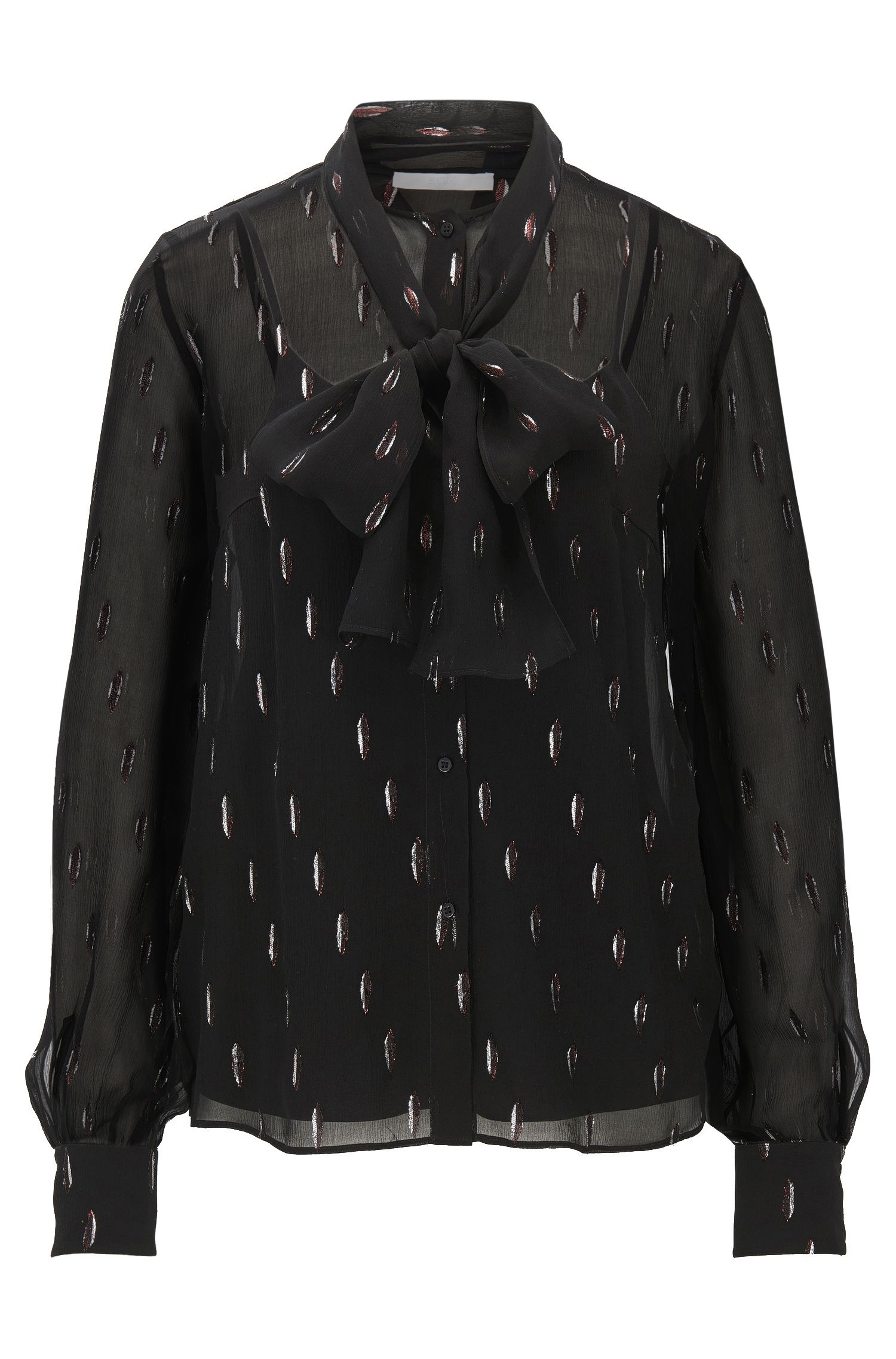 Silk-blend blouse with bow detail
