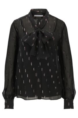 Silk-blend blouse with bow detail, Patterned