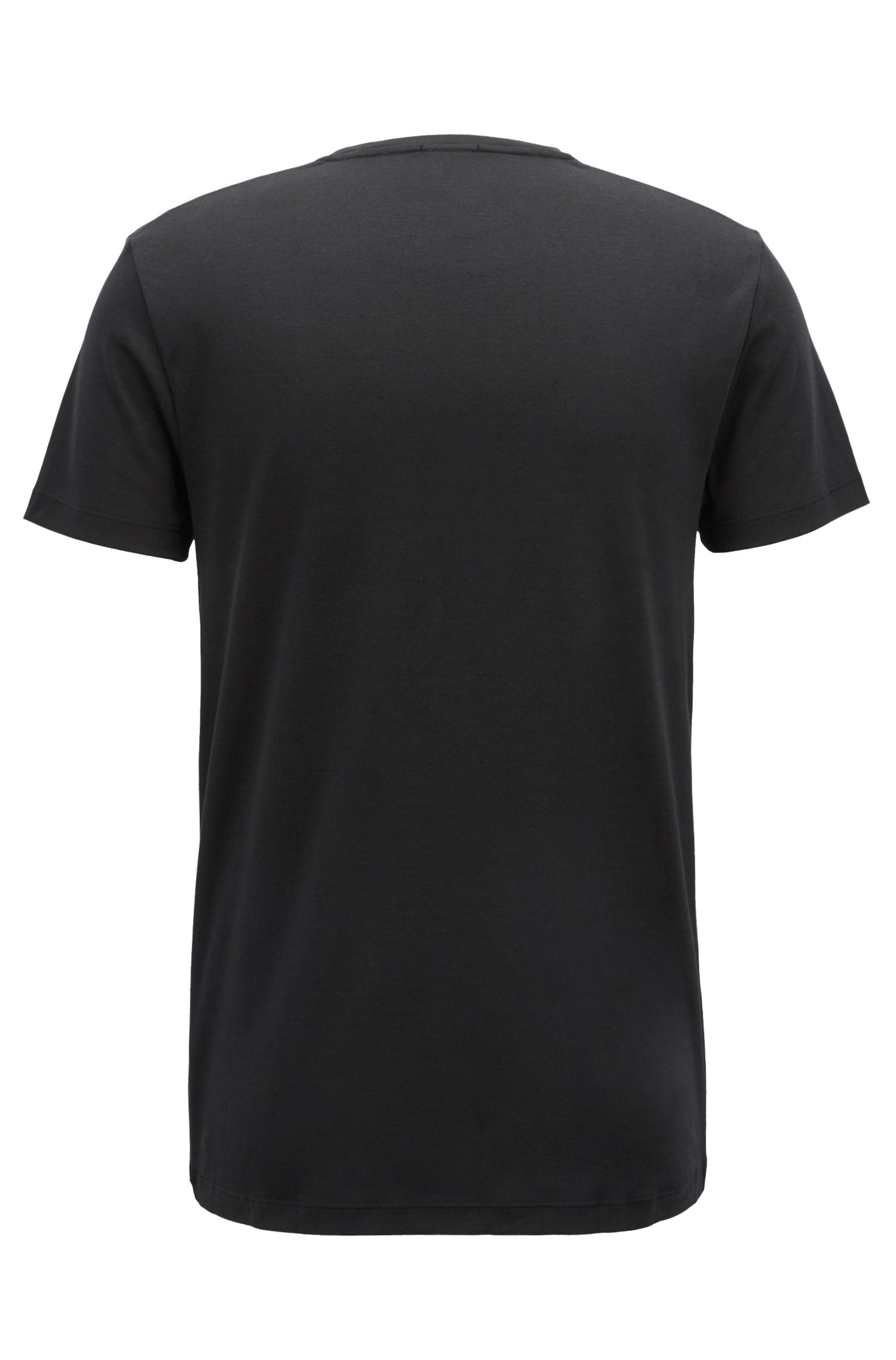 T-shirt slim fit in cotone con logo in velluto, Nero