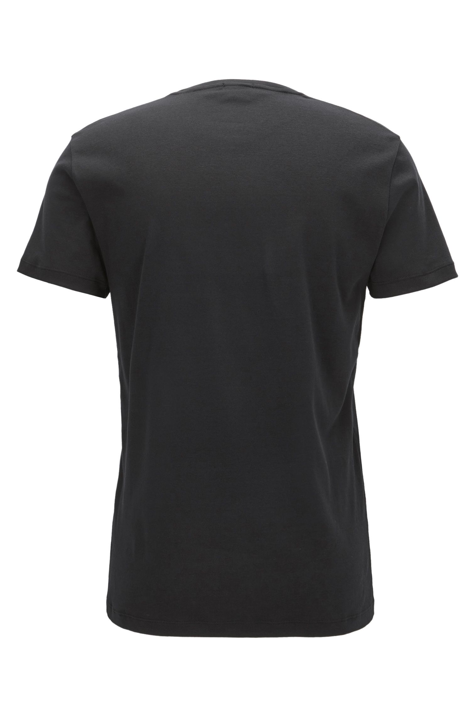 Slim-fit cotton T-shirt with velvet logo