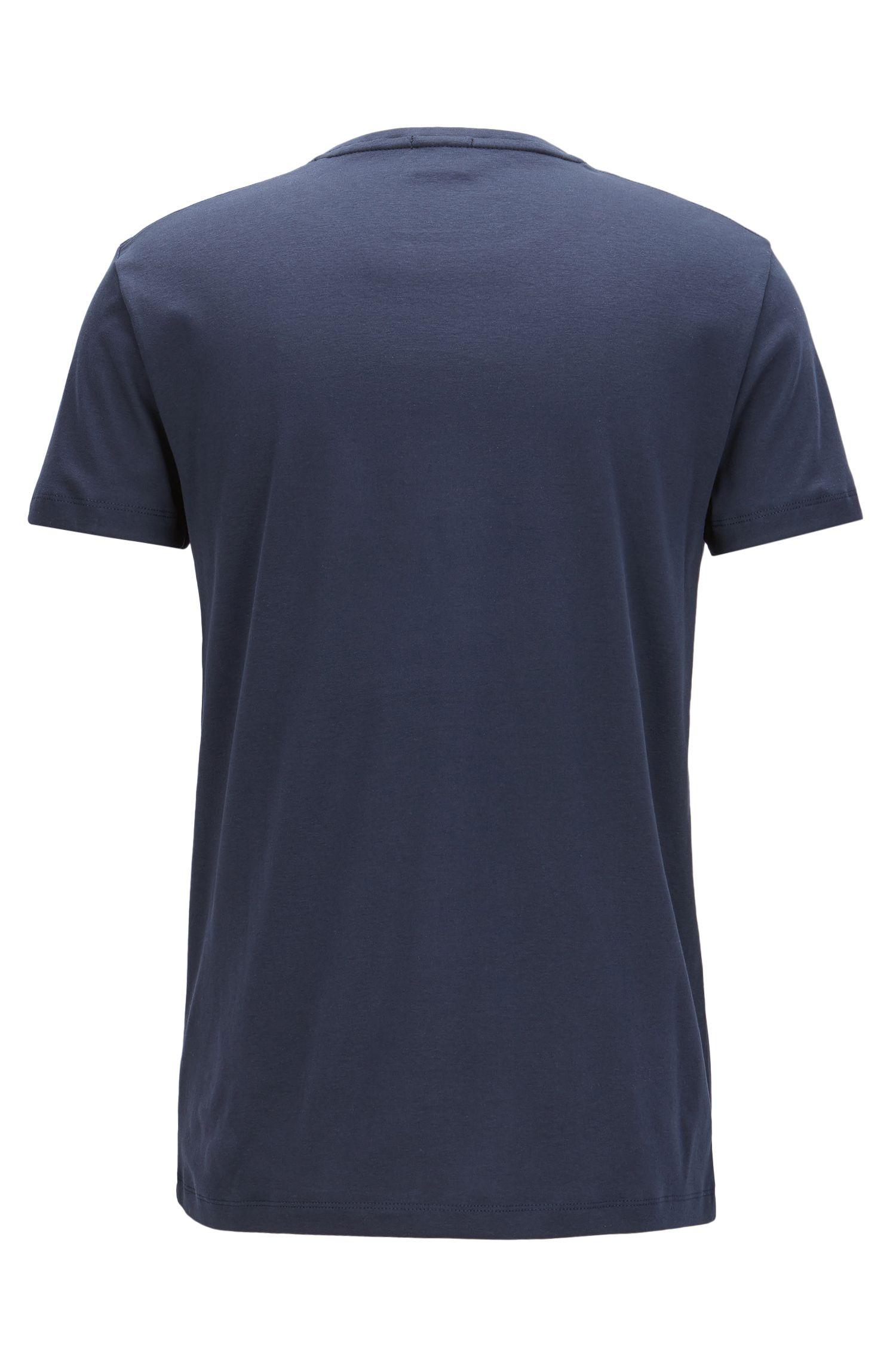 Slim-fit T-shirt van katoen met fluwelen logo, Donkerblauw