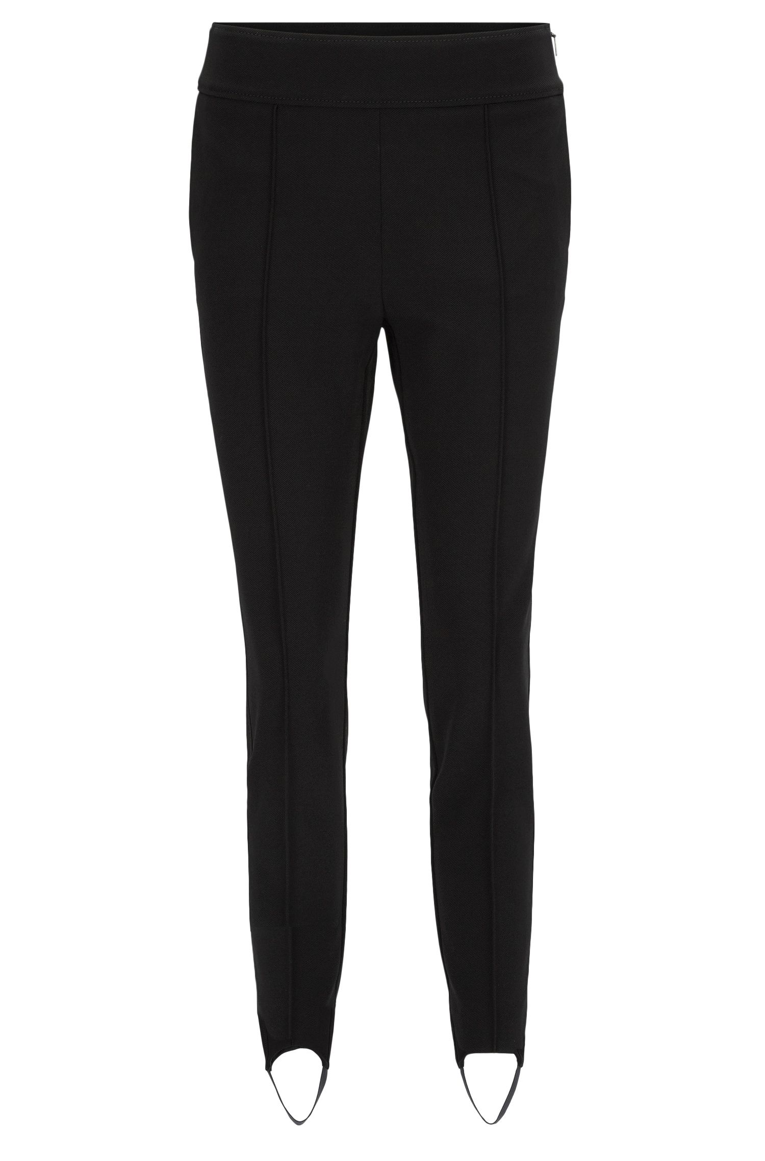 Pantaloni con staffa slim fit in twill elasticizzato, Nero