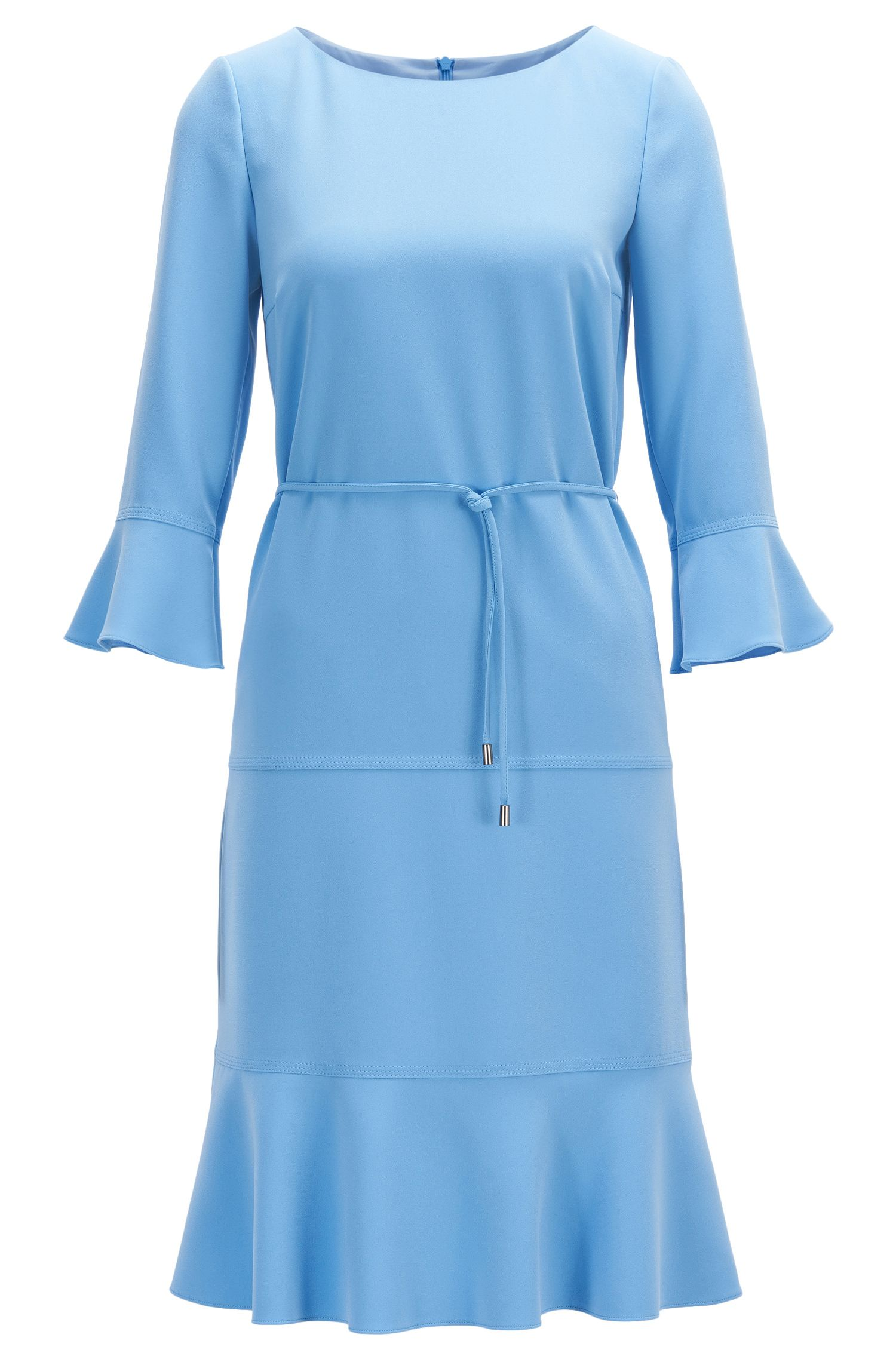 Wide-neck dress with removable belt
