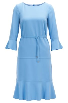 Wide-neck dress with removable belt, Turquoise