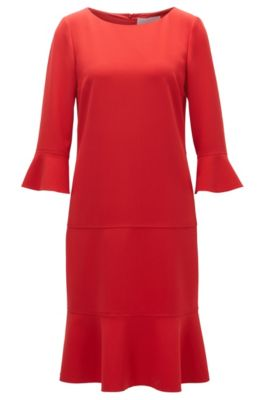 Wide-neck dress with removable belt, Red