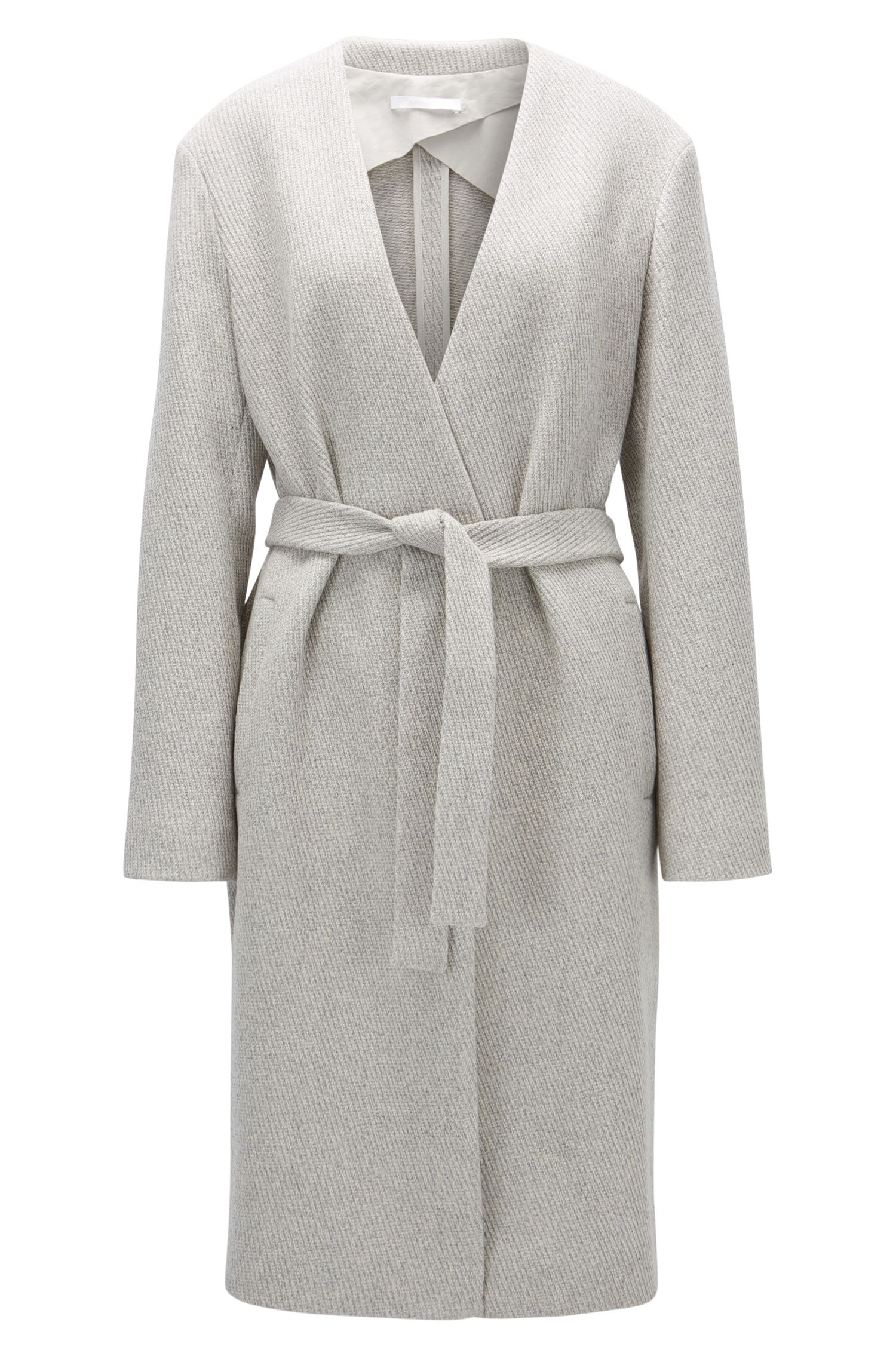 Regular-fit collarless jacket in a wool blend