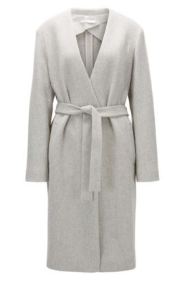 Regular-fit collarless jacket in a wool blend, Light Grey