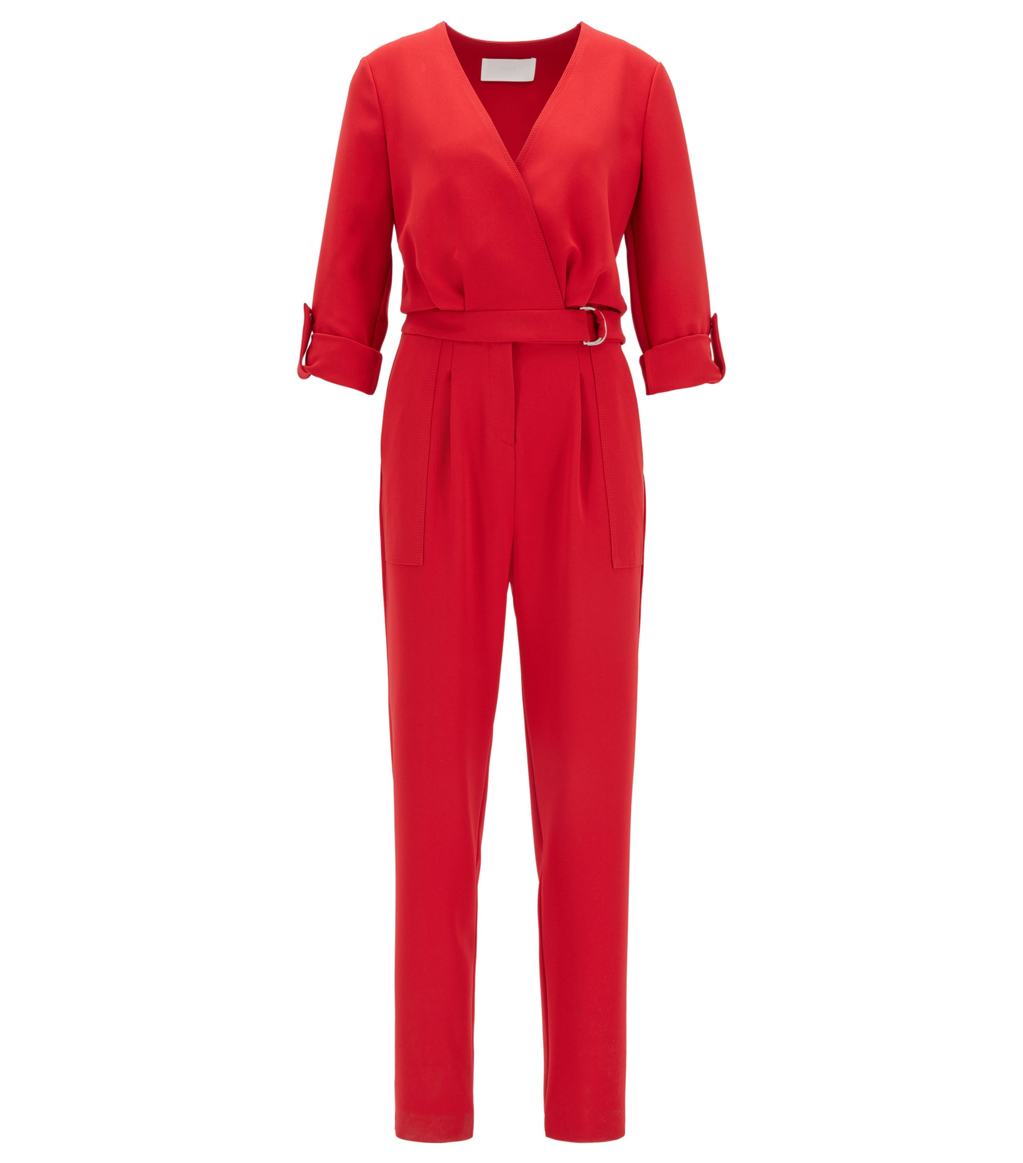 Cropped-leg V-neck jumpsuit with roll-tab sleeves, Red