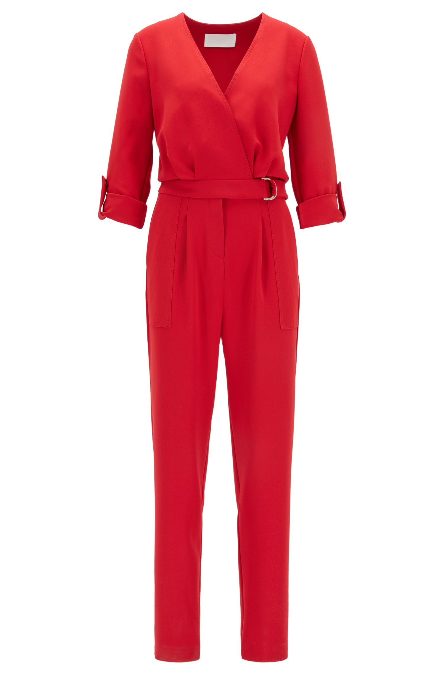 Cropped-leg V-neck jumpsuit with roll-tab sleeves
