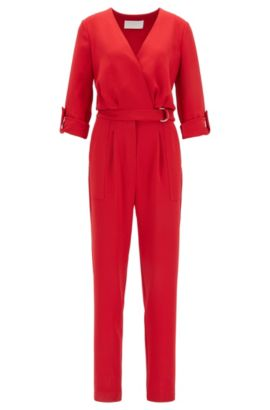Cropped-leg V-neck jumpsuit with roll-tab sleeves, Rojo