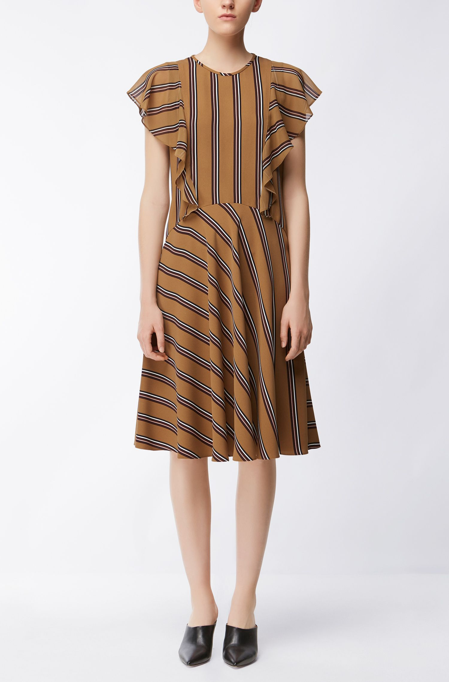 Patterned dress with bias-cut ruffles