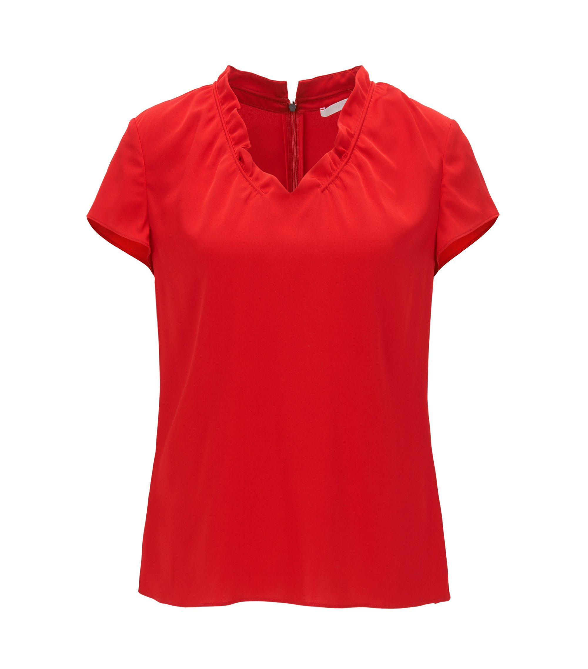 Cap-sleeve top in stretch silk, Red
