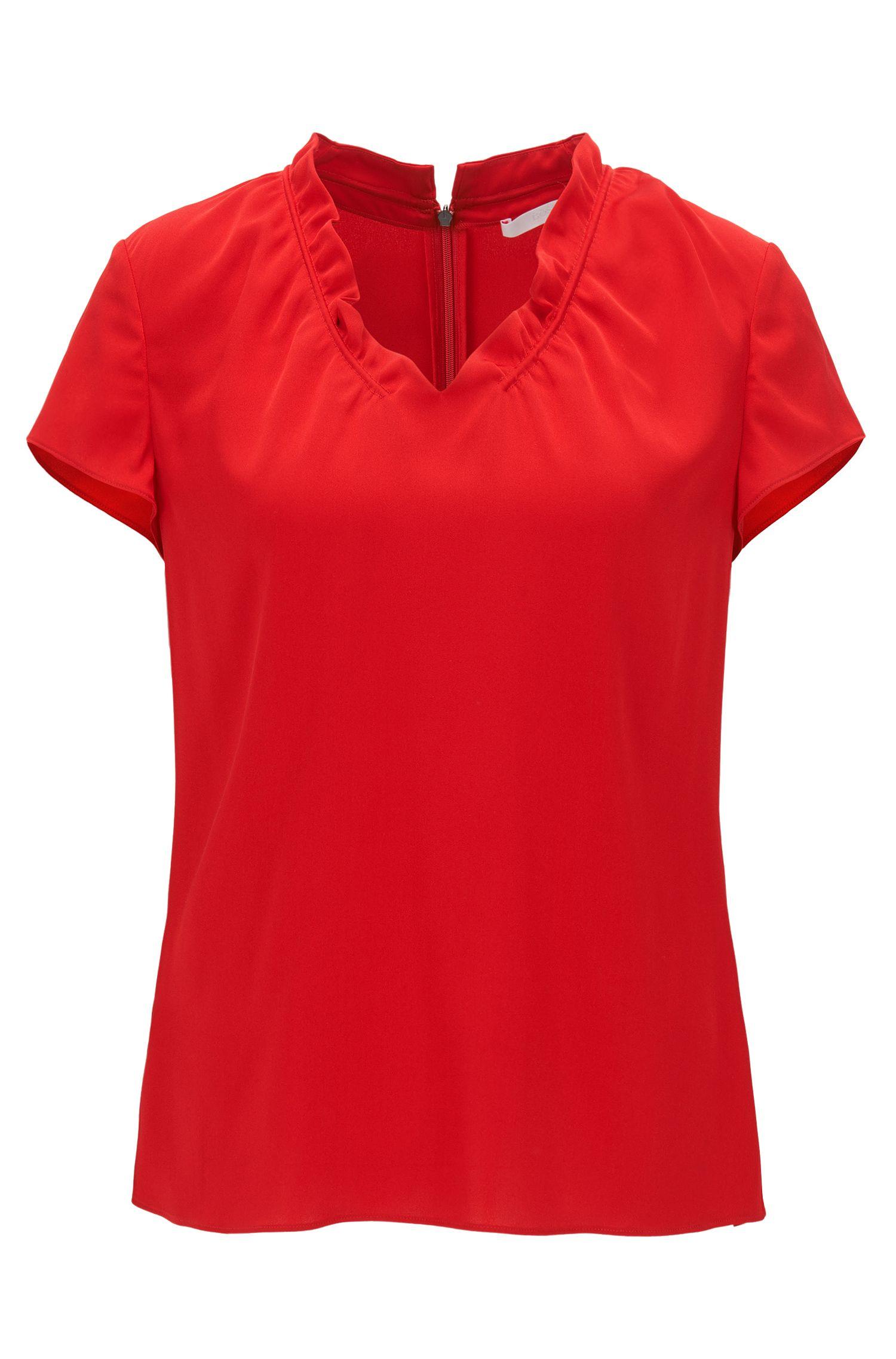 Cap-sleeve top in stretch silk