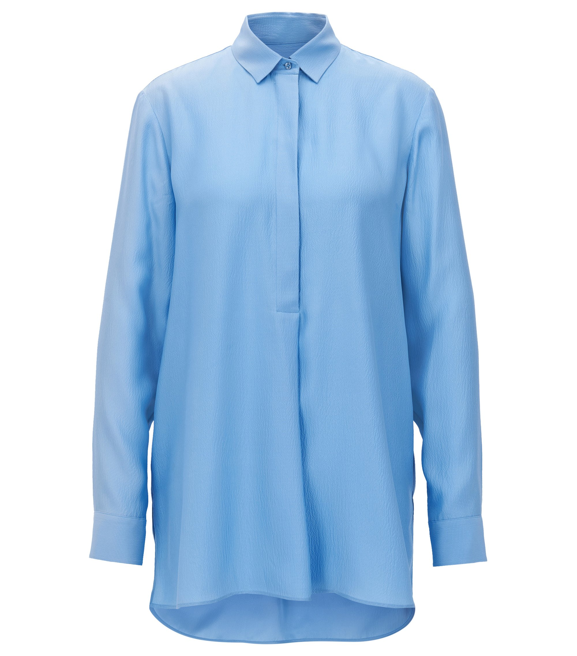 Oversized-fit shirt in textured silk, Turquoise