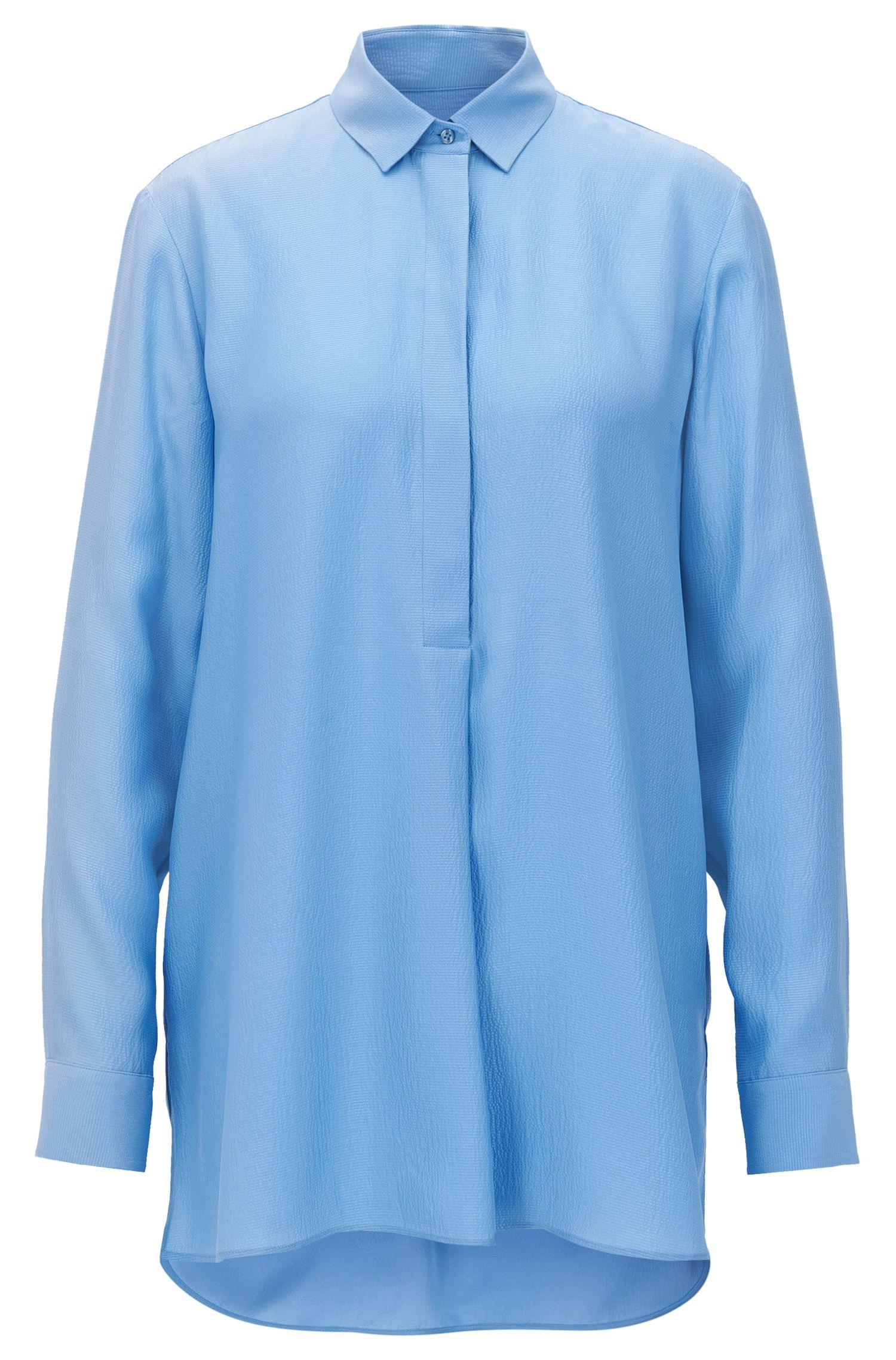 Camisa oversized fit en seda con textura