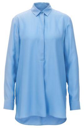 Camisa oversized fit en seda con textura, Turquesa