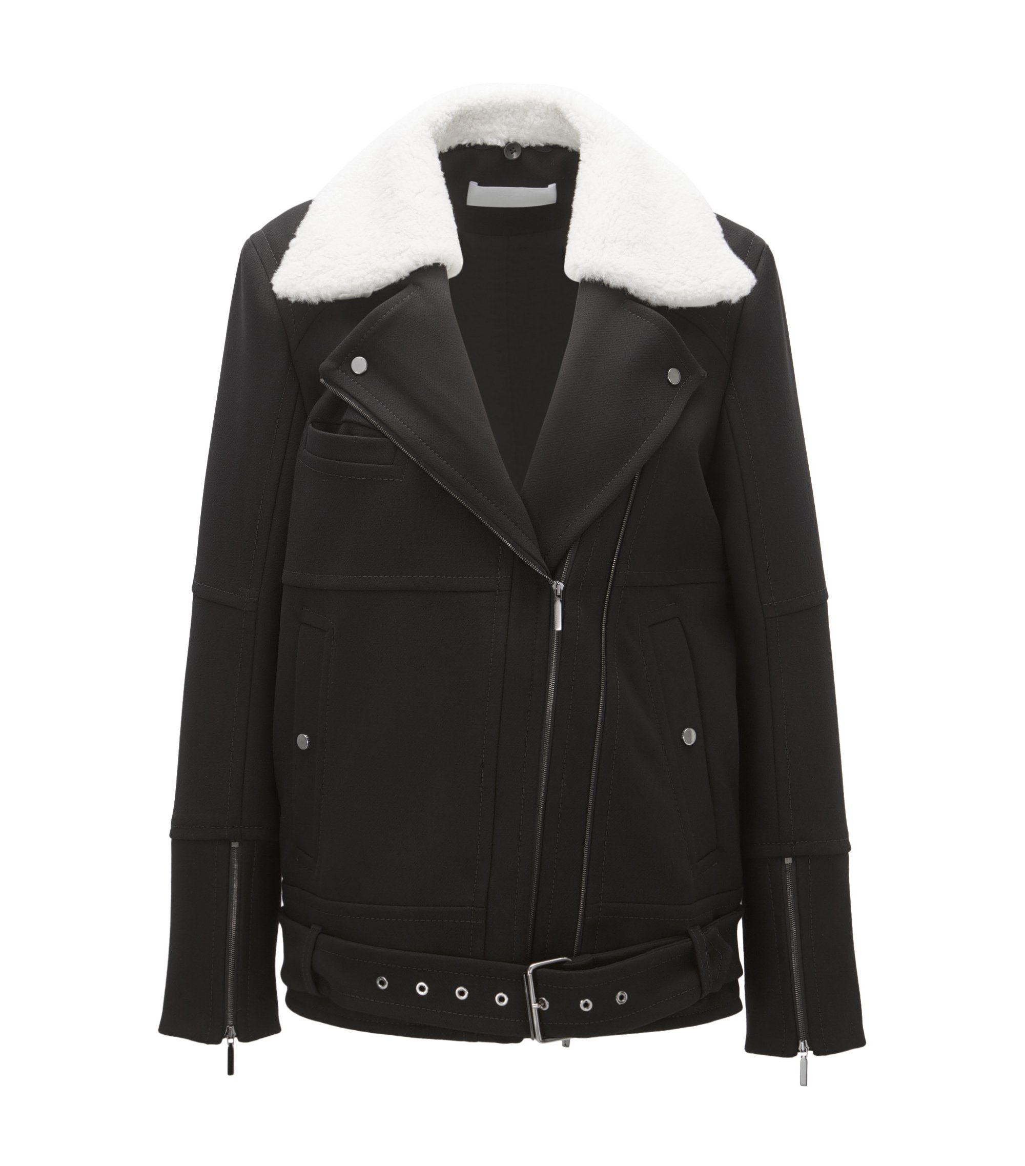 Giubbotto in stile aviatore regular fit con colletto in shearling, Nero