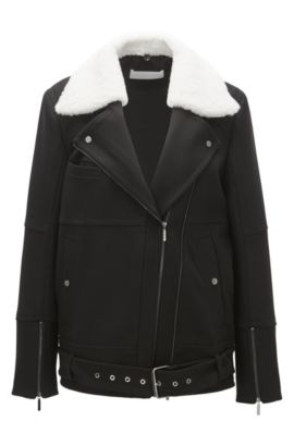 Aviator jacket with shearling collar in a regular fit, Nero