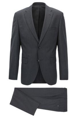 Regular-fit kostuum van scheerwol, Zwart