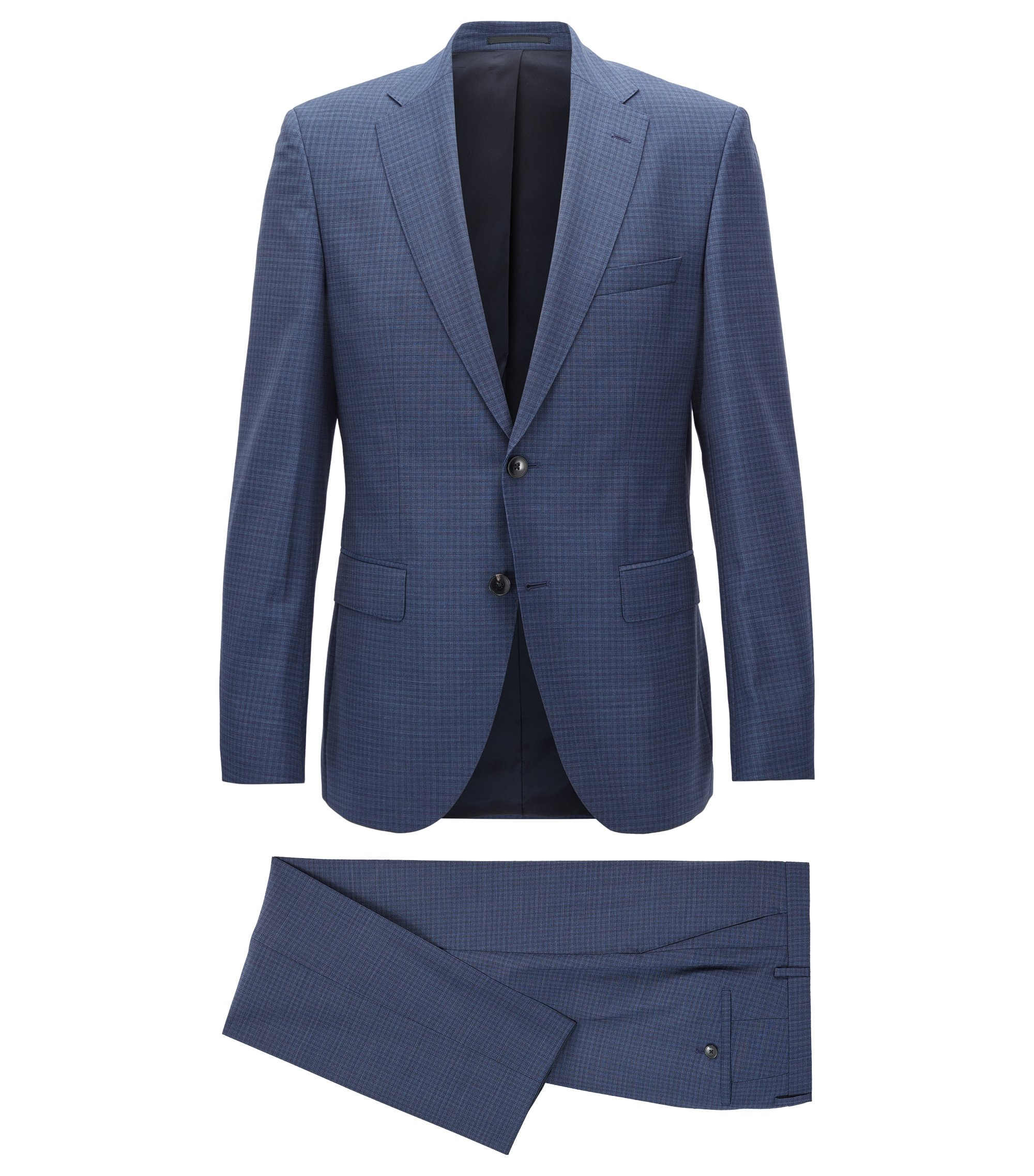 Regular-fit kostuum van scheerwol, Donkerblauw