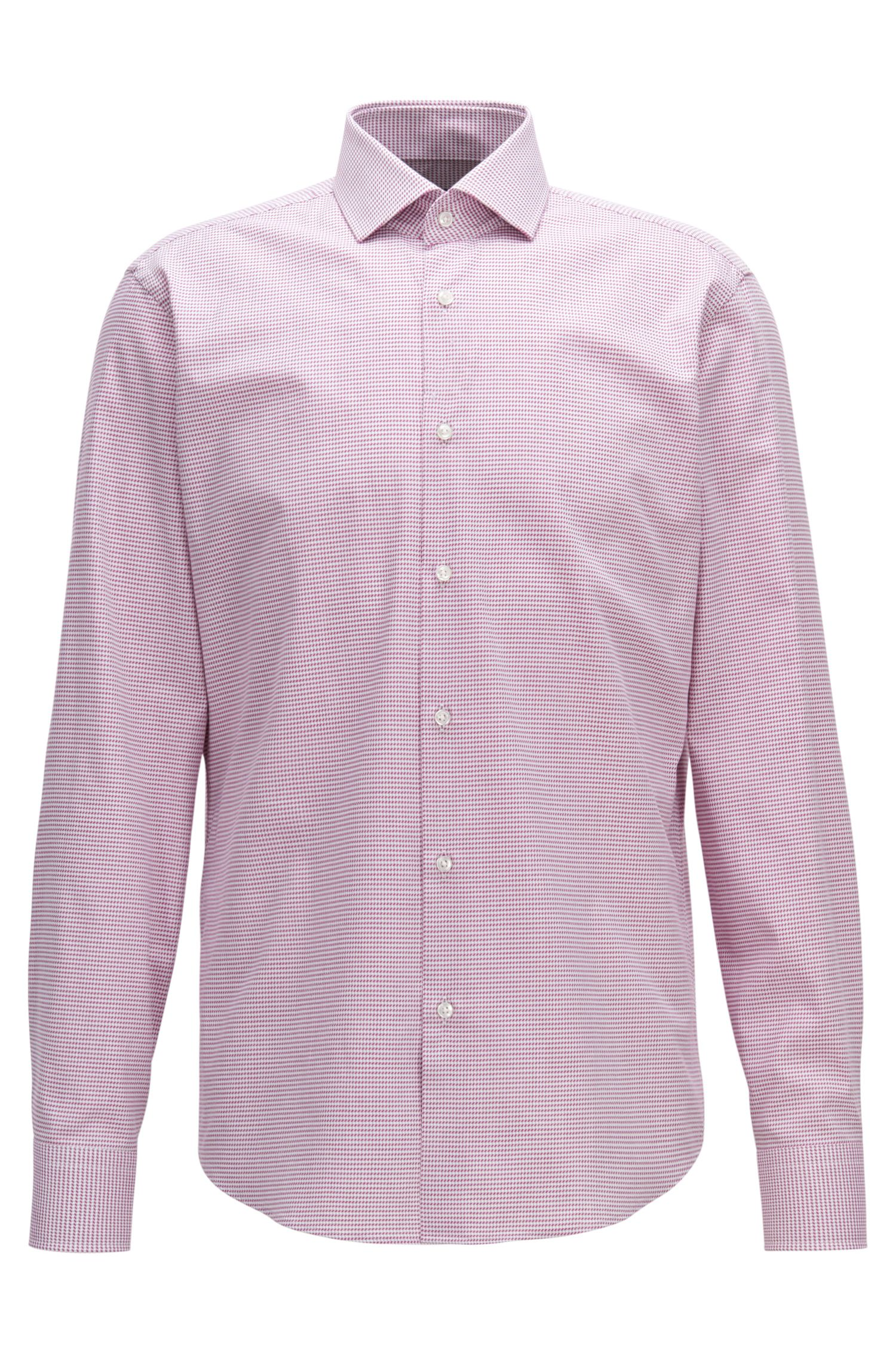 Camicia regular fit in twill di cotone con microdisegni