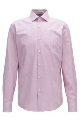 Regular-fit micro-pattern cotton twill , Dark pink