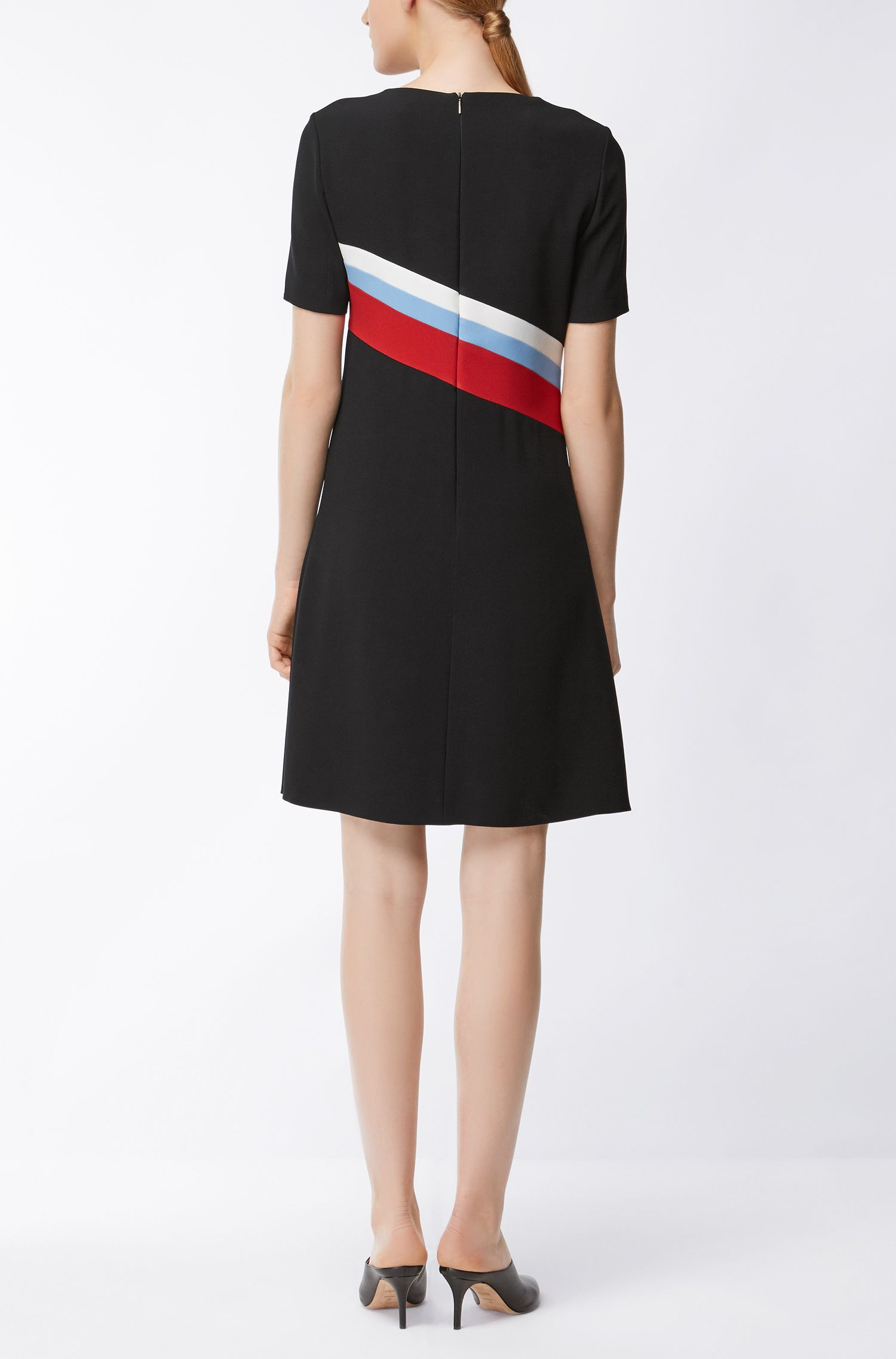 Short-sleeved dress in micro-structure crêpe BOSS