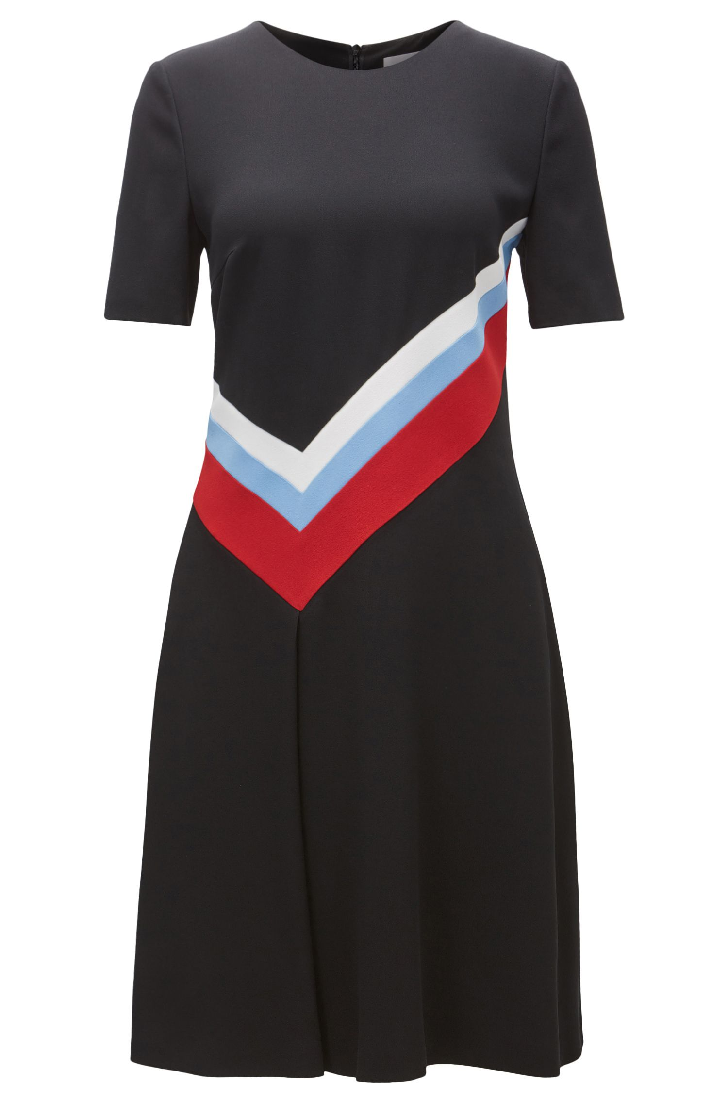 Short-sleeved dress in micro-structure crêpe