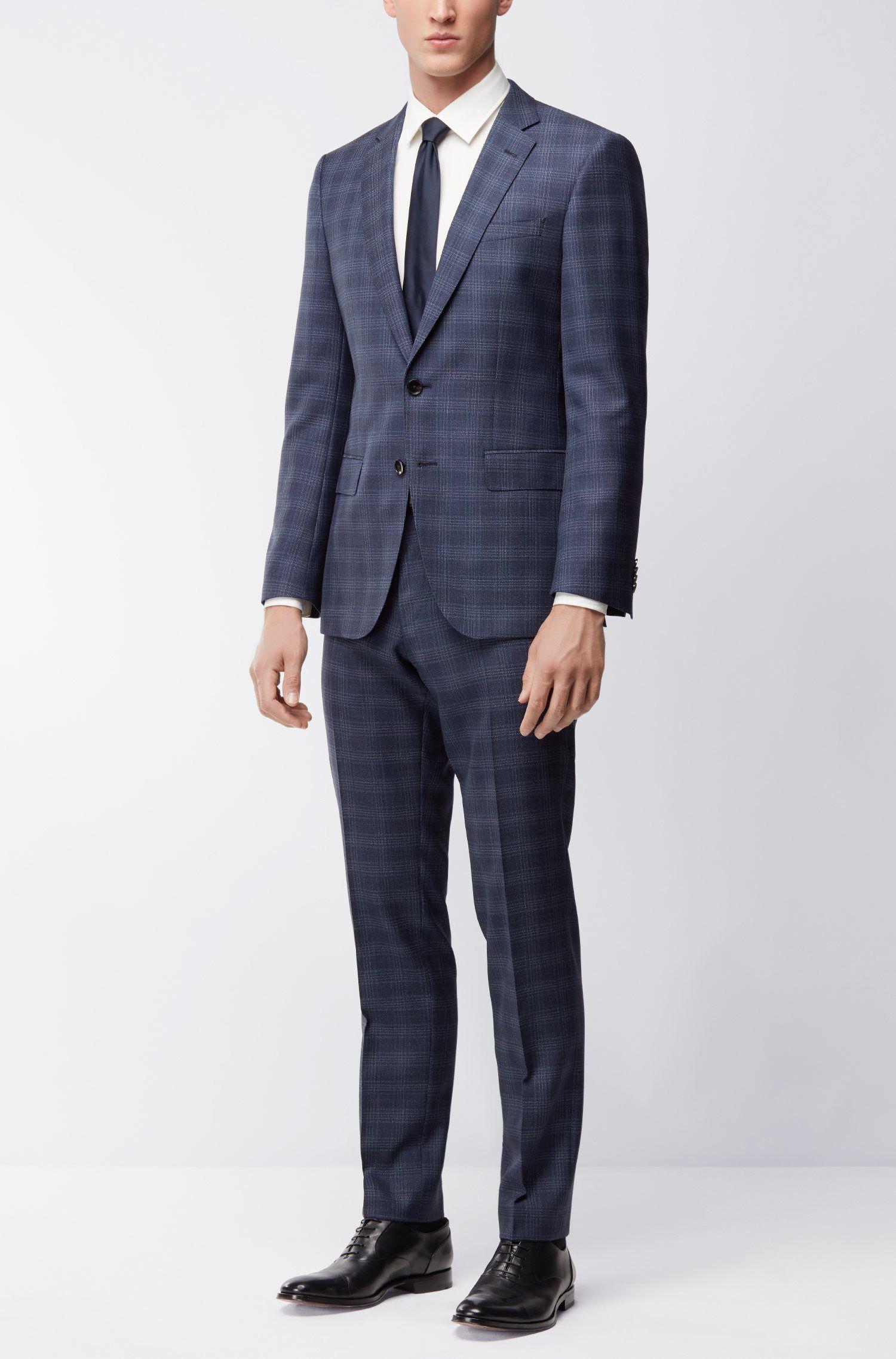 Karierter Slim-Fit Anzug aus Schurwoll-Serge