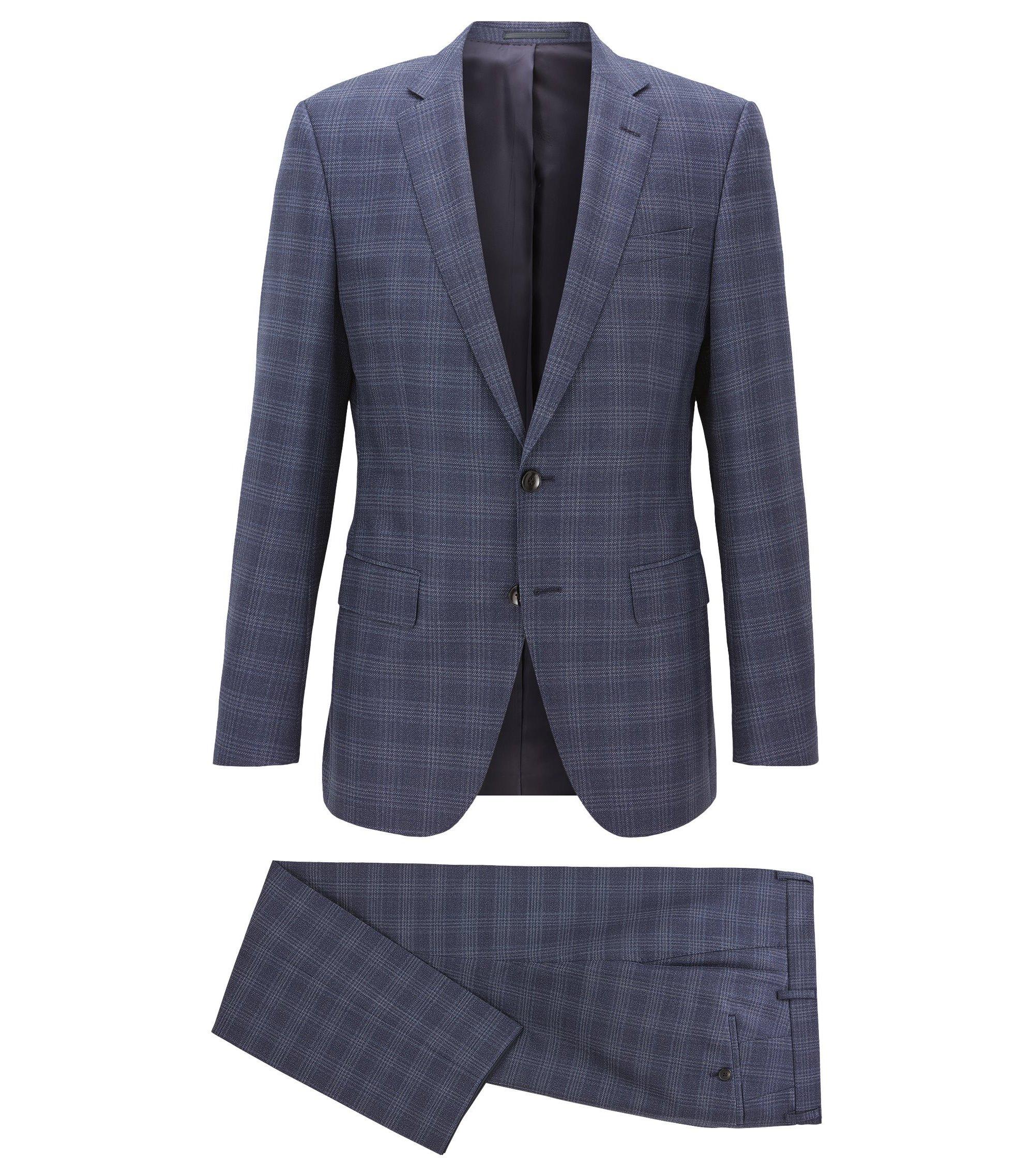 Slim-fit kostuum van geruite scheerwolserge, Donkerblauw